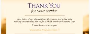 Free Olive Garden Entree For Veterans