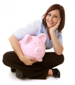piggy bank, woman saving money