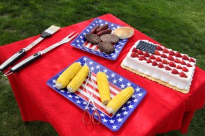Table of food prepared for 4th of July barbeque