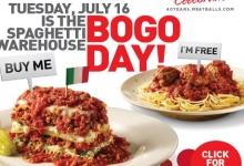 Spaghetti Warehouse BOGO Day