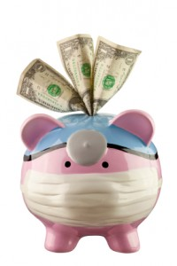 Medical Piggy Bank With Dollar Bills In Slot
