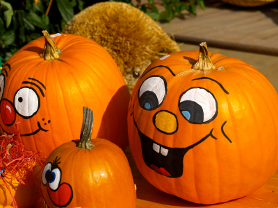 """Not everyone is a fan of """"pumpkin guts""""!  Avoid getting your hands dirty with these frugal no-carve pumpkin designs."""