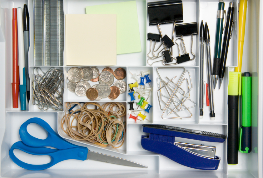 What's in your junk drawer?  Now is a good time to clean it out and organize it.  Here's how!