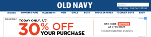 Old Navy promo