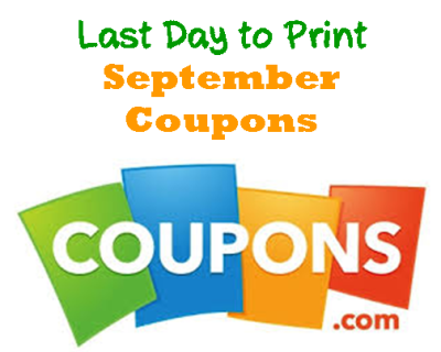 Last Day to Print September Coupons
