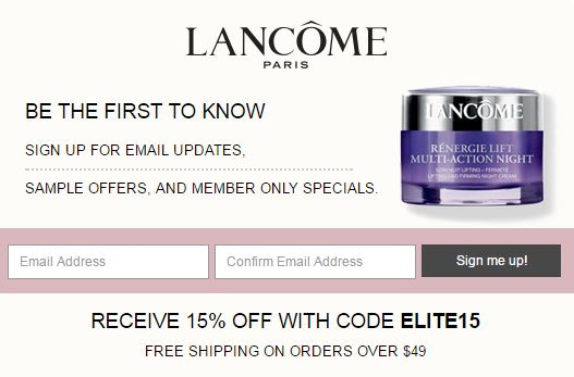 If you love Lancôme, sign up for their emails and be the first to learn about Free Samples and special offers for members only!