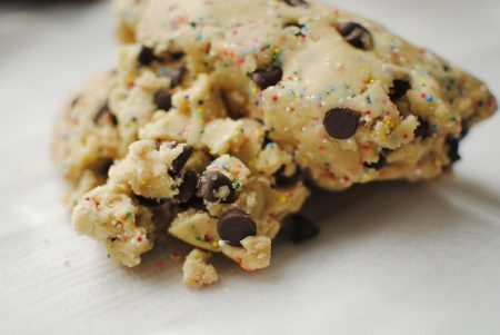 People can get sick after eating raw cookie dough because of it contains raw eggs. There is another ingredient to watch out for too!